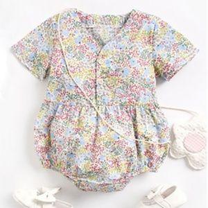 Baby Girls Pink Floral Print Short Sleeve Romper